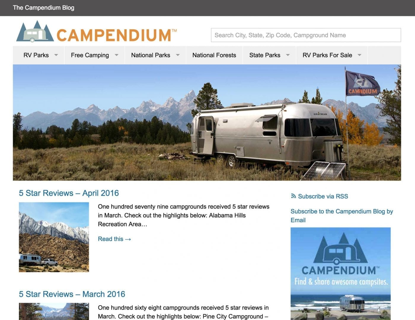 screenshot of Campendium.com/camping