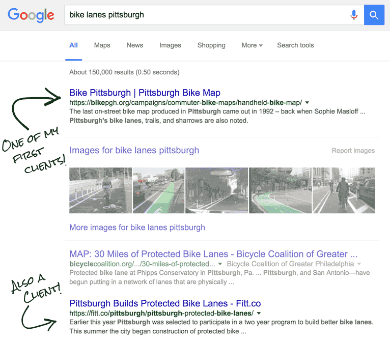 google search results show Bike PGH at the top!