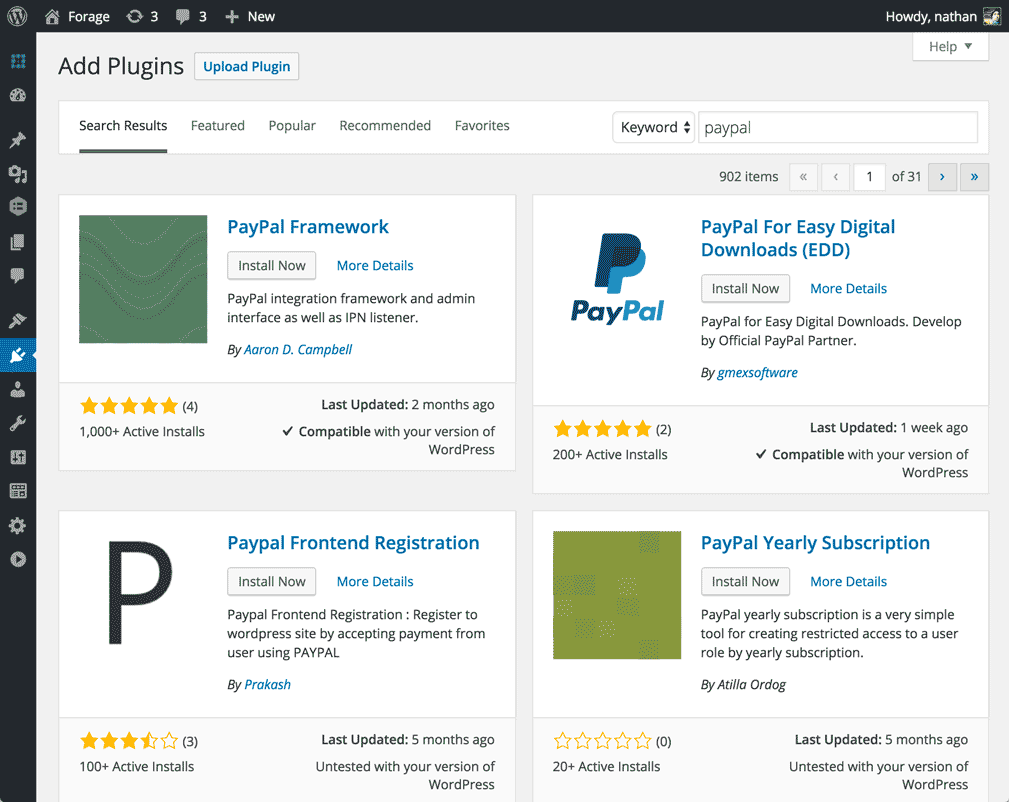 wordpress plugin search screen