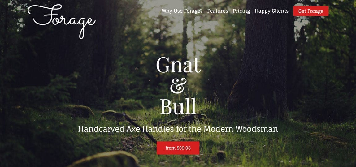 a website selling lumberjack handles in the forest
