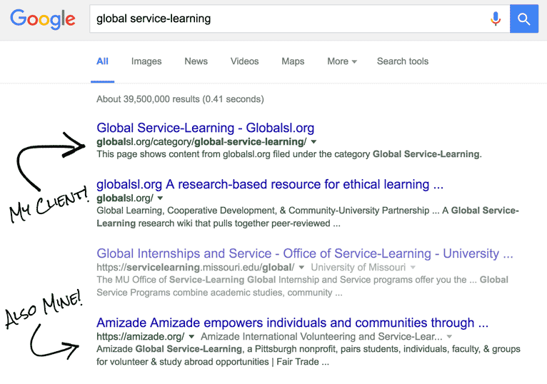 google search results showing my clients in three of the top 4 positions